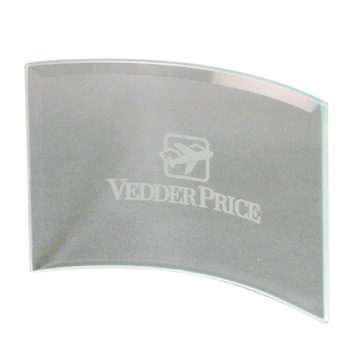 "BGC75 - Clear Beveled Glass Crescent Award w7""x5"""