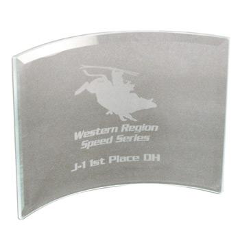"BGC86 - Clear Beveled Glass Crescent Award w8""x6"""