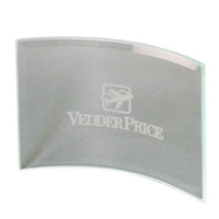 "Clear Beveled Glass Crescent Award w7""x5"""