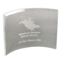 "Clear Beveled Glass Crescent Award w8""x6"""