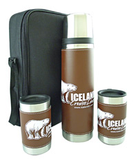 Brown Leatherwrap Gift Set