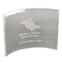 "Clear Beveled Glass Crescent Award w8""x6"""