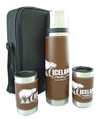 Brown Leatherwrap Gift Set