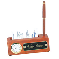 Rosewood-Business-Card-HolderClock